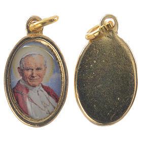 Medalhas: Medalha João Paulo II metal dourado e resina 1,5x1 cm