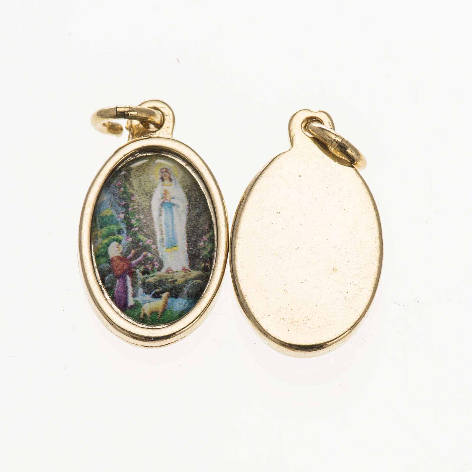 Medaglia Lourdes metallo dorato resina 1,5x1 cm 4