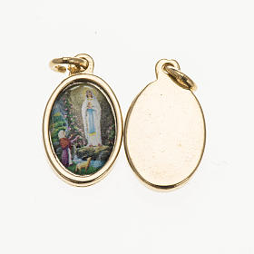 Medals: Medal in golden metal, resin Our Lady of Lourdes 1.5x1cm