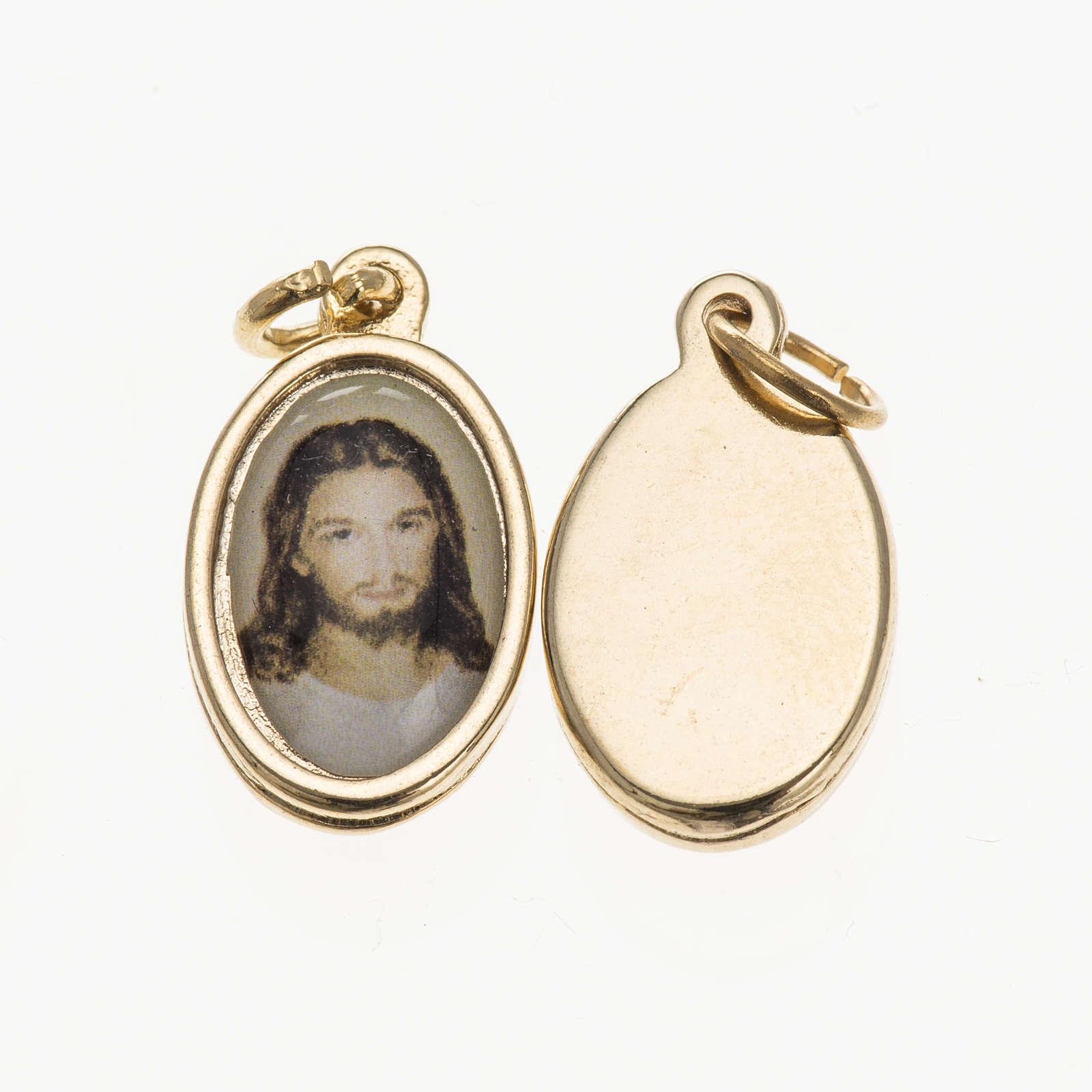 Medaglia Gesù volto - metallo dorato resina 1,5x1 cm 4