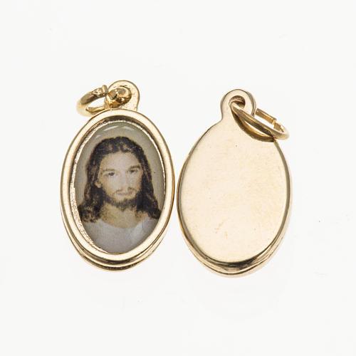 Medaglia Gesù volto - metallo dorato resina 1,5x1 cm 1