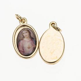 Medals: Medal in golden metal, resin Sacred Heart of Jesus 1.5x1cm
