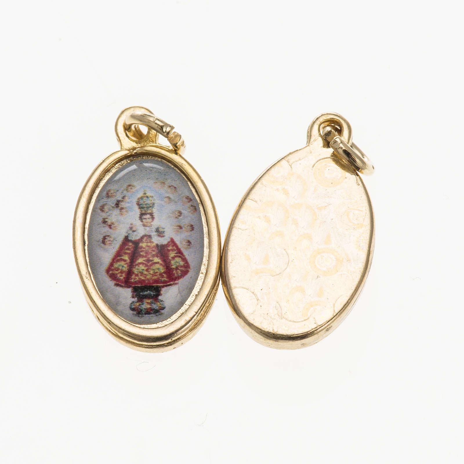 Medaglia Bambin Gesù Praga - metallo dorato resina 1,5x1 cm 4