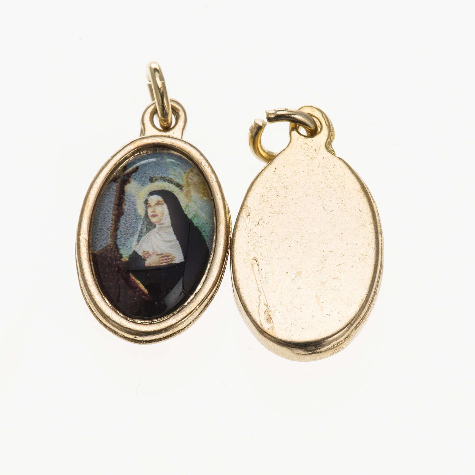 Medalla S. Rita en metal dorado y resina 1,5x1cm 4