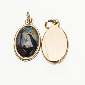 Medals: Medal in golden metal, resin Saint Rita 1.5x1cm