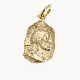 Medals: Medal in golden metal with face of Christ 19mm