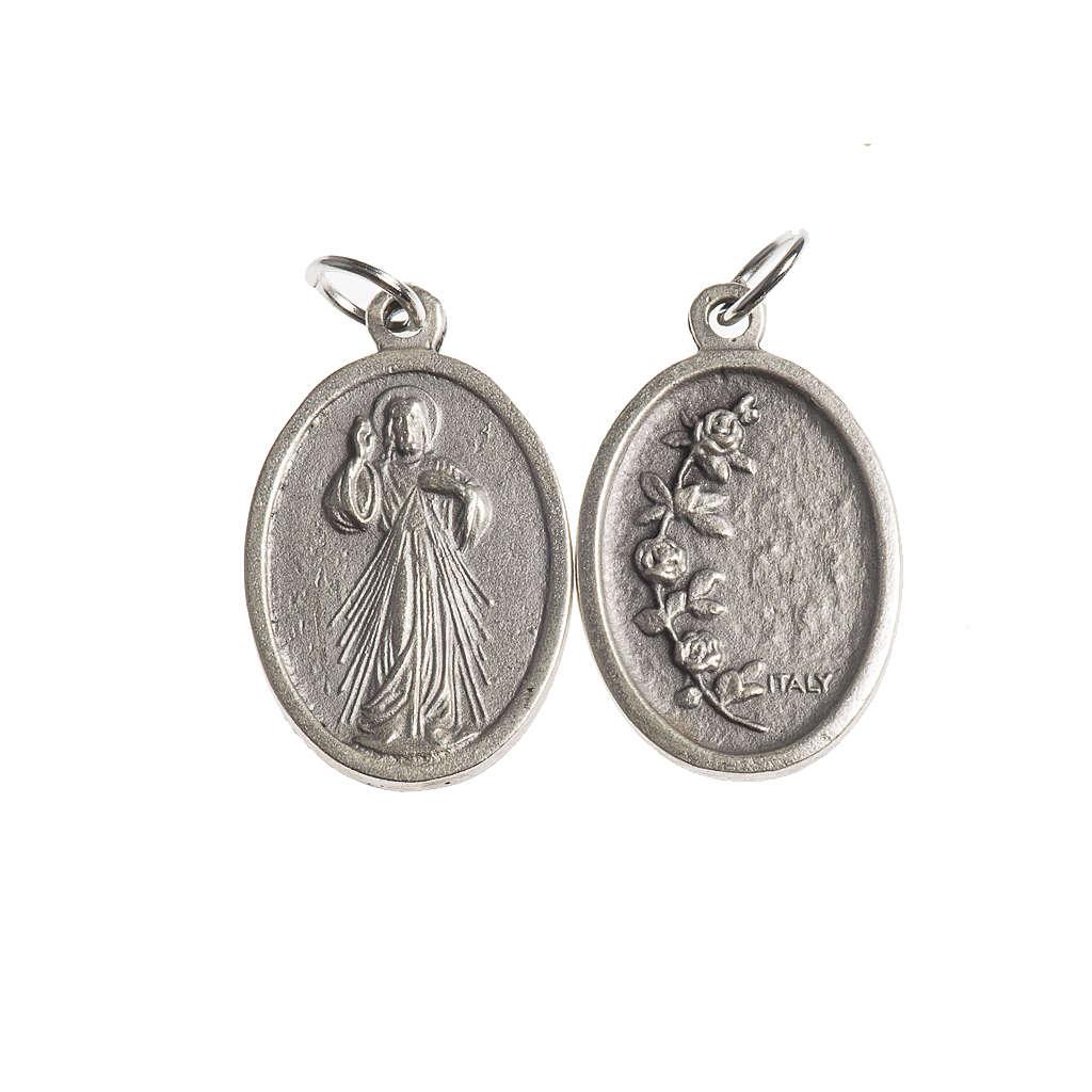 Medalla Misericordiosa oval plateada antigua 4