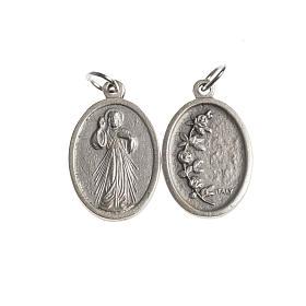 Medalla Misericordiosa oval plateada antigua s1