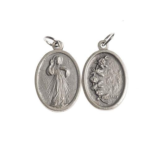 Medalla Misericordiosa oval plateada antigua 1