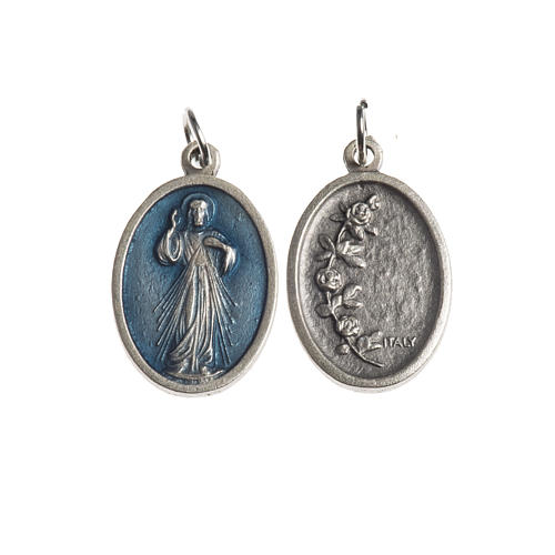 Miraculous Medal, oval antique silver with enamel 1