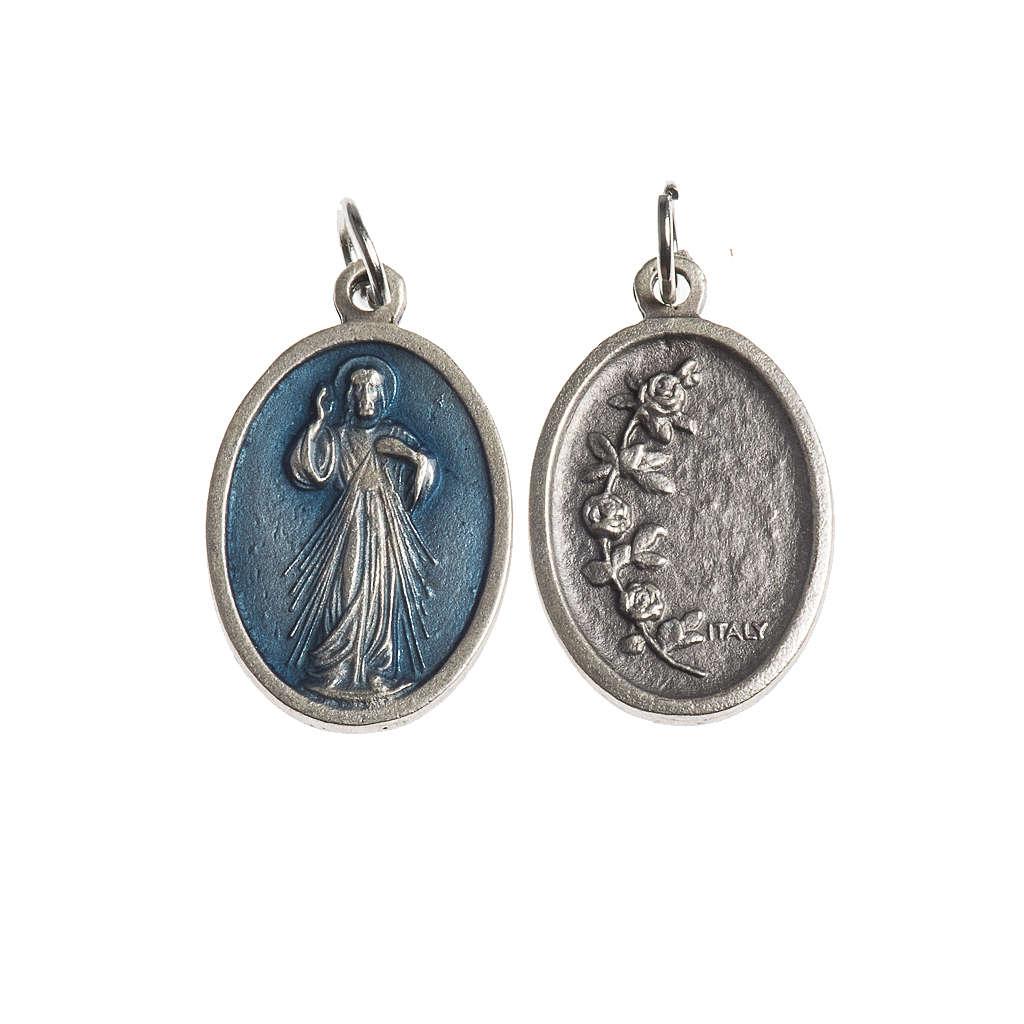 Medaglia Misericordiosa ovale galvanica argento antico smalto az 4