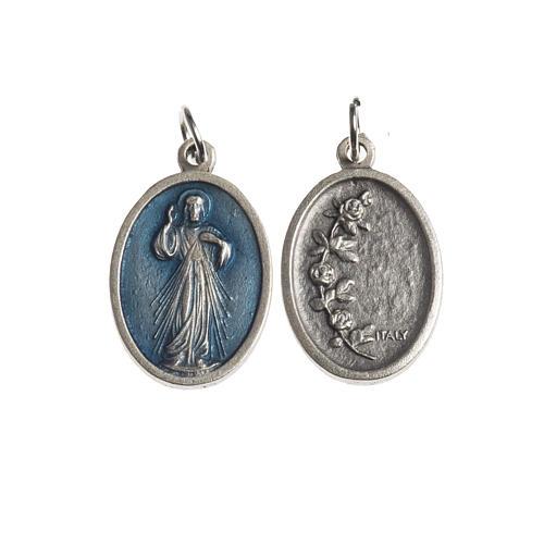 Medaglia Misericordiosa ovale galvanica argento antico smalto az 1