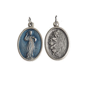 Medalha Milagrosa oval zamak prata antiga esmalte azul