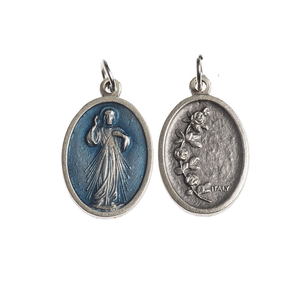 Miraculous Medal, oval antique silver with enamel 4