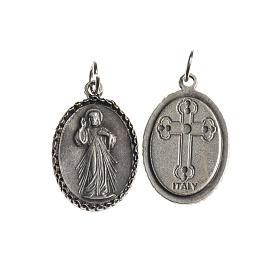 Medaglia Misericordiosa ovale bordo decorato galvanica argento a s1