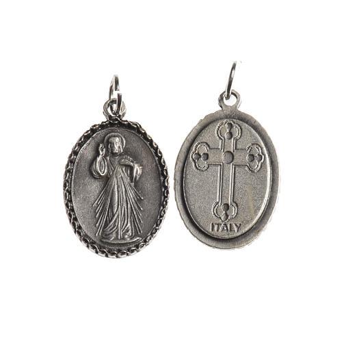 Medaglia Misericordiosa ovale bordo decorato galvanica argento a 1