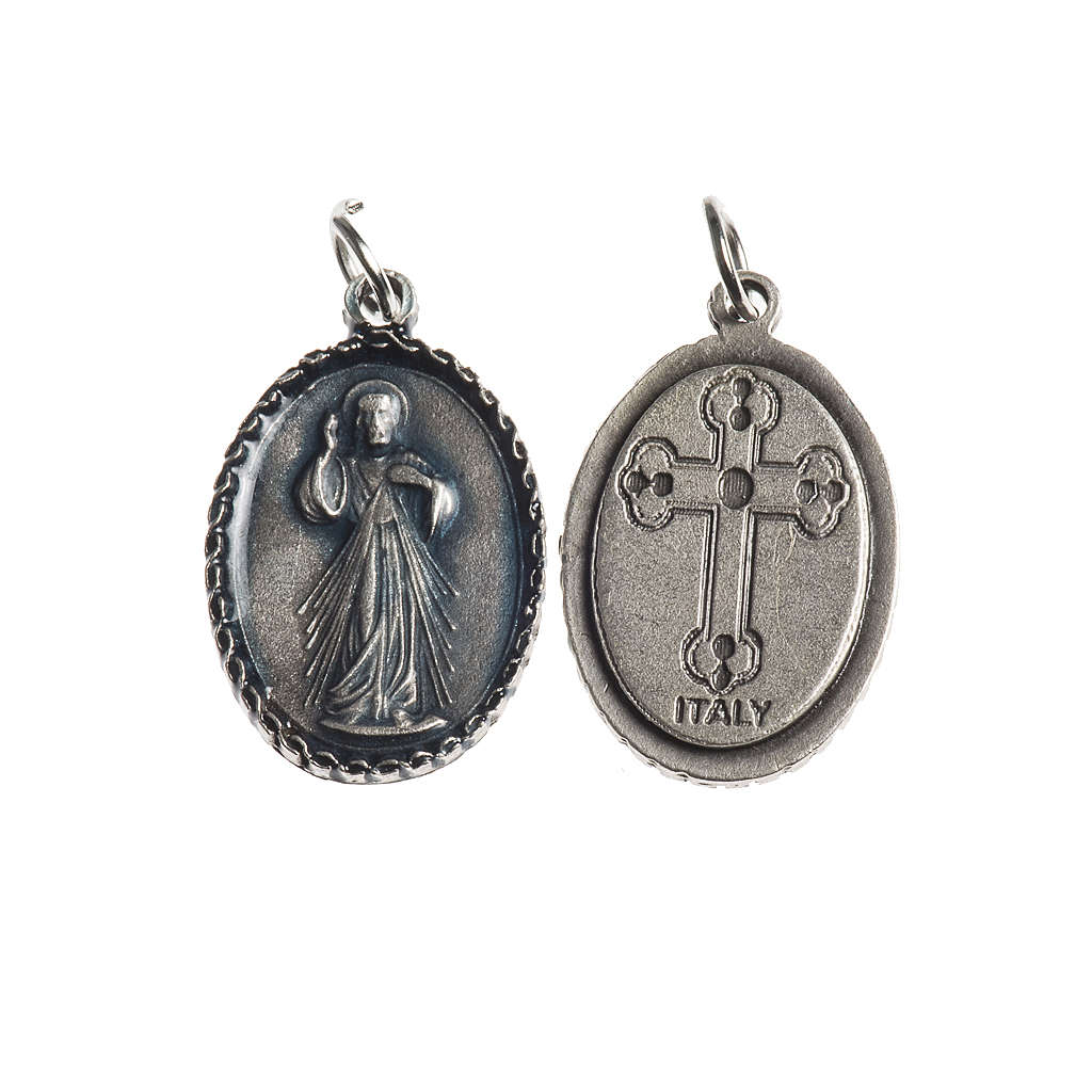 Miraculous Medal, oval with decorated edges, galvanic silver 4