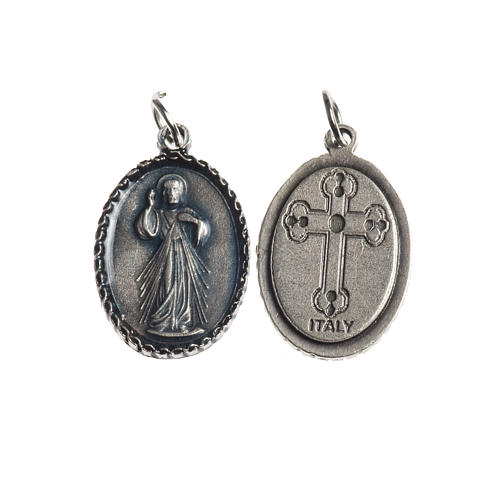 Miraculous Medal, oval with decorated edges, galvanic silver 1