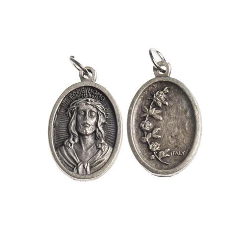 Medalla Ecce Homo oval galvánica plateado antiguo 1
