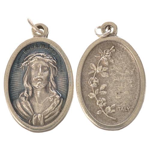 Medal, Ecce homo oval shaped galvanic silver light blue enamel 2