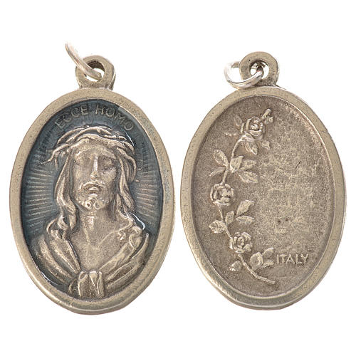 Médaille Ecce Homo ovale émail bleu ciel 1