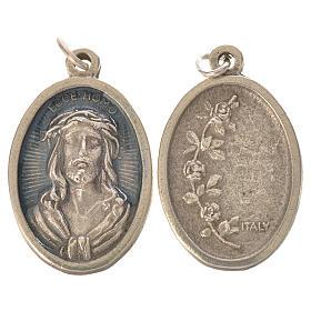 Medaglia Ecce Homo ovale galvanica argento antico smalto azzurro s1