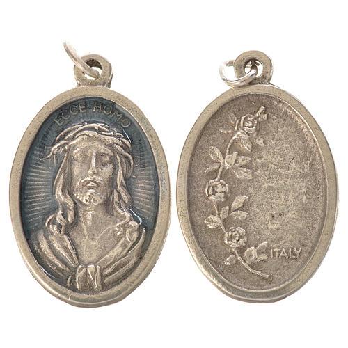 Medaglia Ecce Homo ovale galvanica argento antico smalto azzurro 1