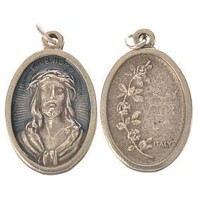 Medal, Ecce homo oval shaped galvanic silver light blue enamel s2