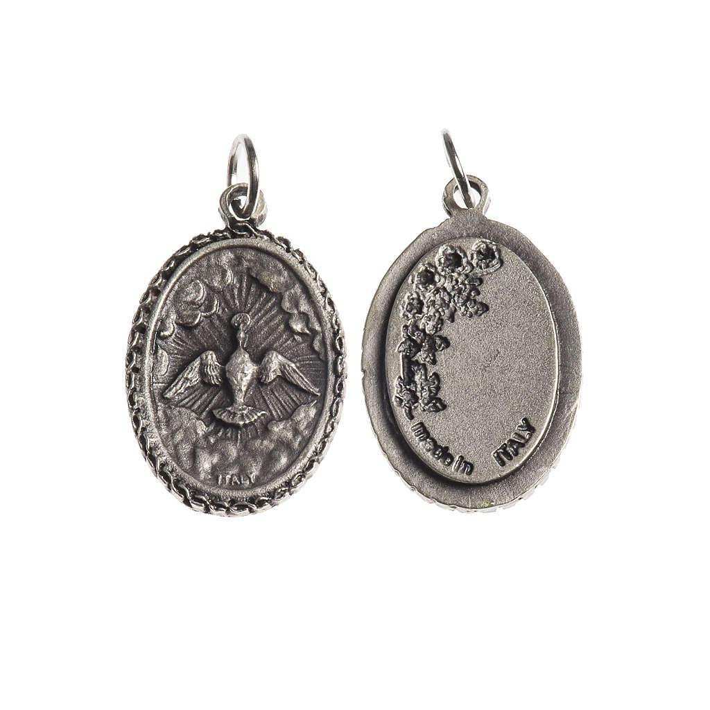 Medaglia Spirito Santo ovale bordo decorato galvanica argento an 4