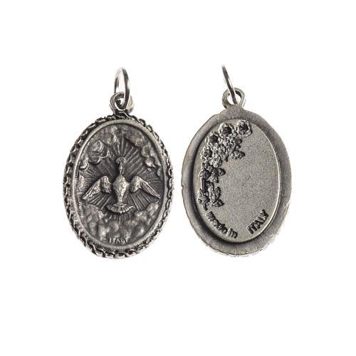 Medaglia Spirito Santo ovale bordo decorato galvanica argento an 1