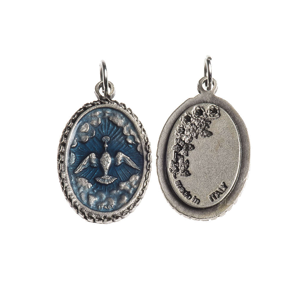 Holy Spirit medal, oval decorated edges silver and blue enamel 4