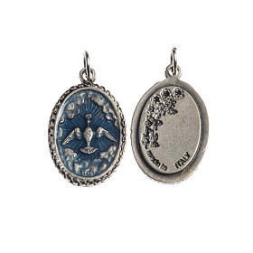 Holy Spirit medal, oval decorated edges silver and blue enamel s1