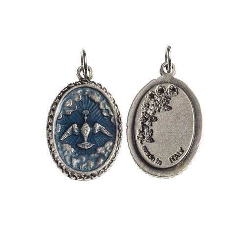 Holy Spirit medal, oval decorated edges silver and blue enamel 1