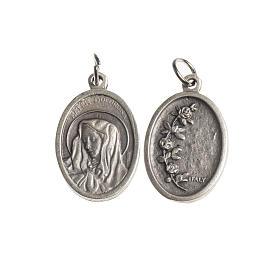 Medalla Mater Dolorosa oval galvánica plateada antiguo s1