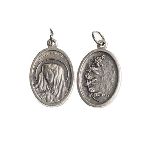 Medalha Mater Dolorosa oval zamak prata antiga