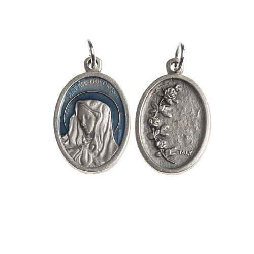 Medalha Mater Dolorosa oval zamak prata antiga esmalte azul