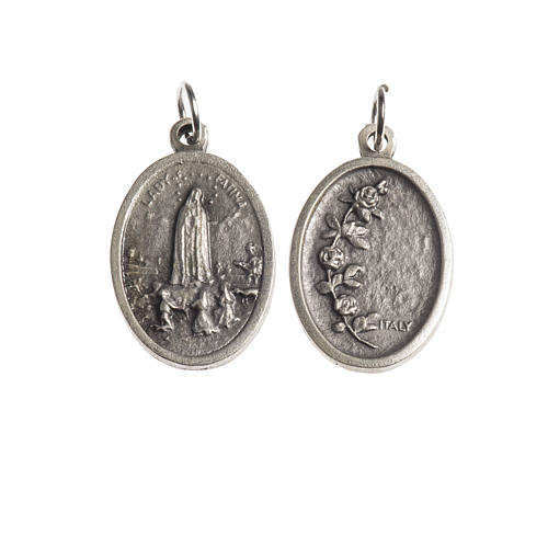 Médaille Fatima ovale galvanisée argent vieilli 1