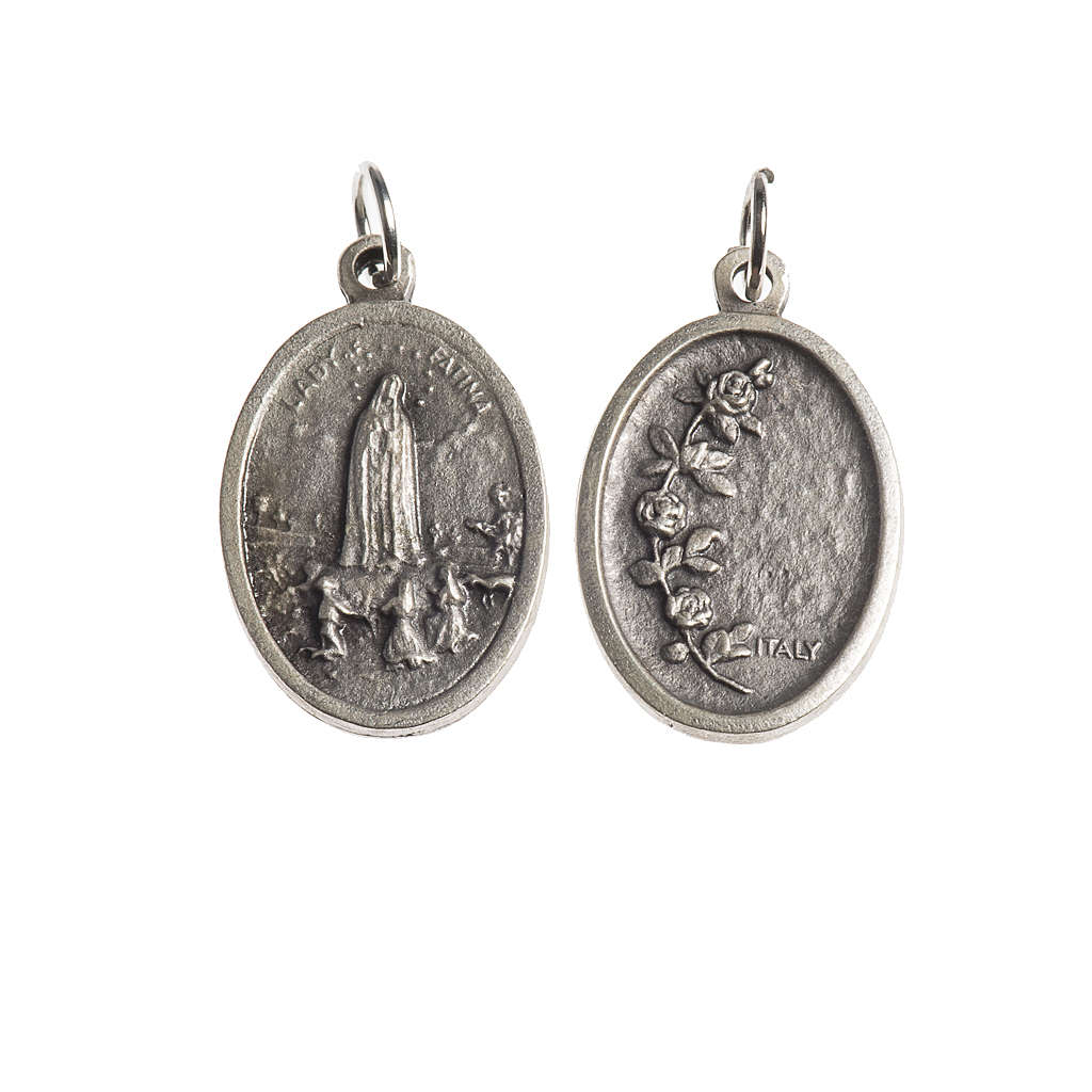 Medalha Fátima oval zamak prata antiga 4