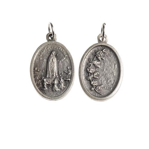 Medalha Fátima oval zamak prata antiga 1