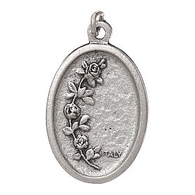Our Lady of Fatima medal, oval, antique silver light blue enamel s2