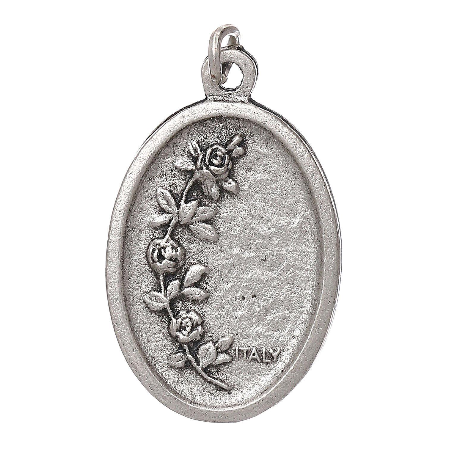 Medaglia Fatima galvanica ovale argento antico smalto azzurro 4