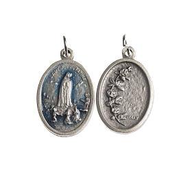 Medaglia Fatima galvanica ovale argento antico smalto azzurro s1