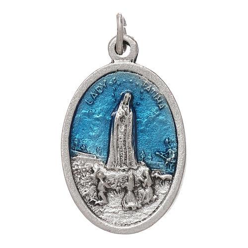 Medaglia Fatima galvanica ovale argento antico smalto azzurro 1