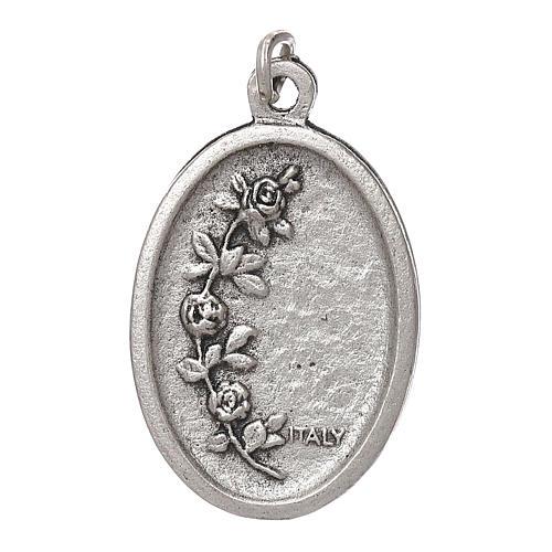 Medaglia Fatima galvanica ovale argento antico smalto azzurro 2