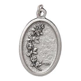 Medalha Fátima oval zamak prata antiga esmalte azul s2