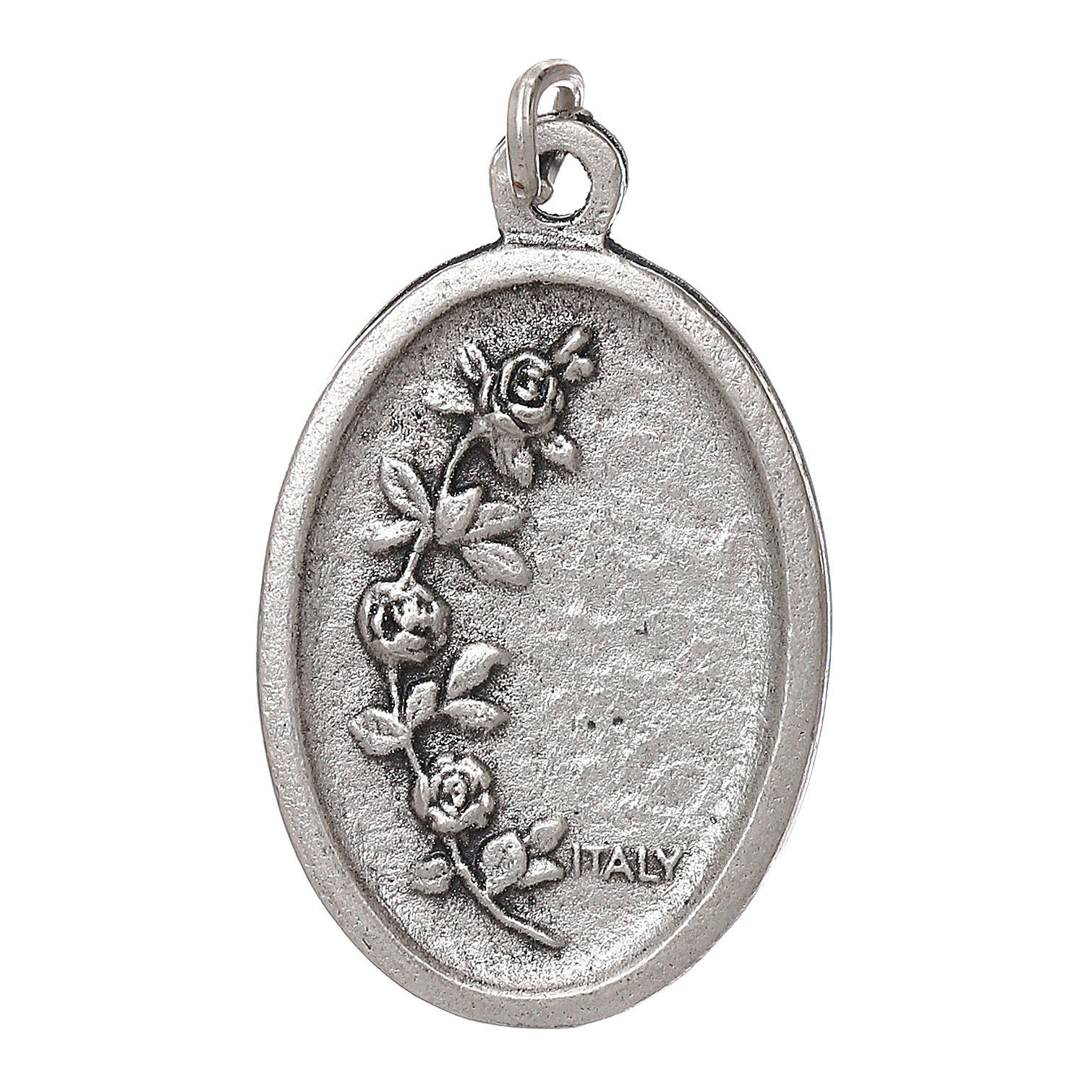 Our Lady of Fatima medal, oval, antique silver light blue enamel 4