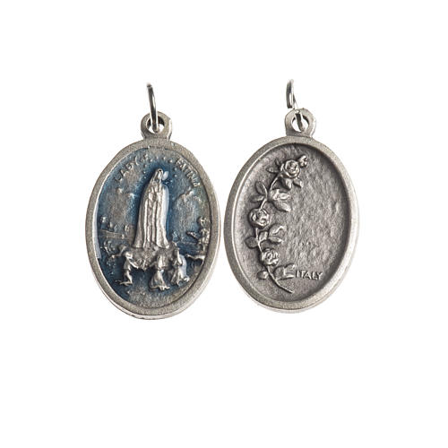 Our Lady of Fatima medal, oval, antique silver light blue enamel 1