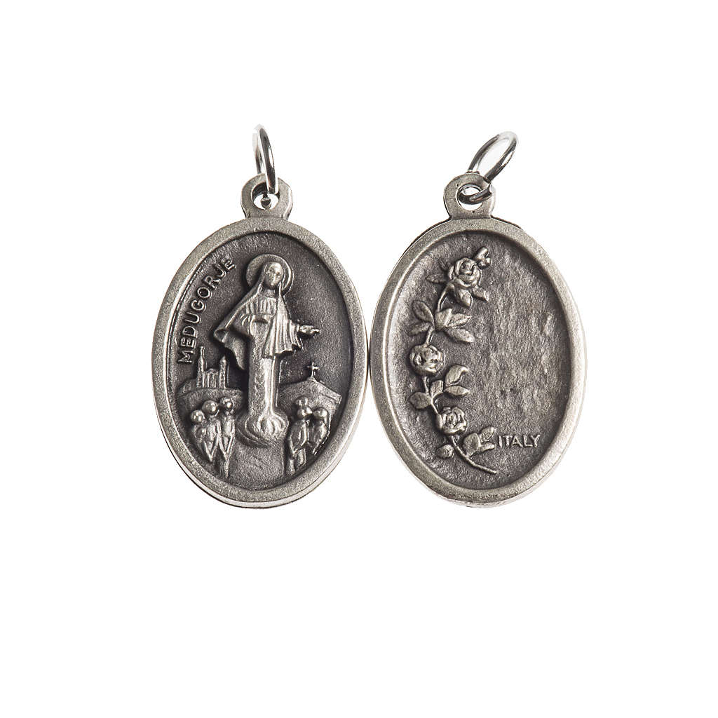 Our Lady of Medjugorje medal, oval, antique silver 4