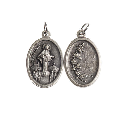 Our Lady of Medjugorje medal, oval, antique silver 1