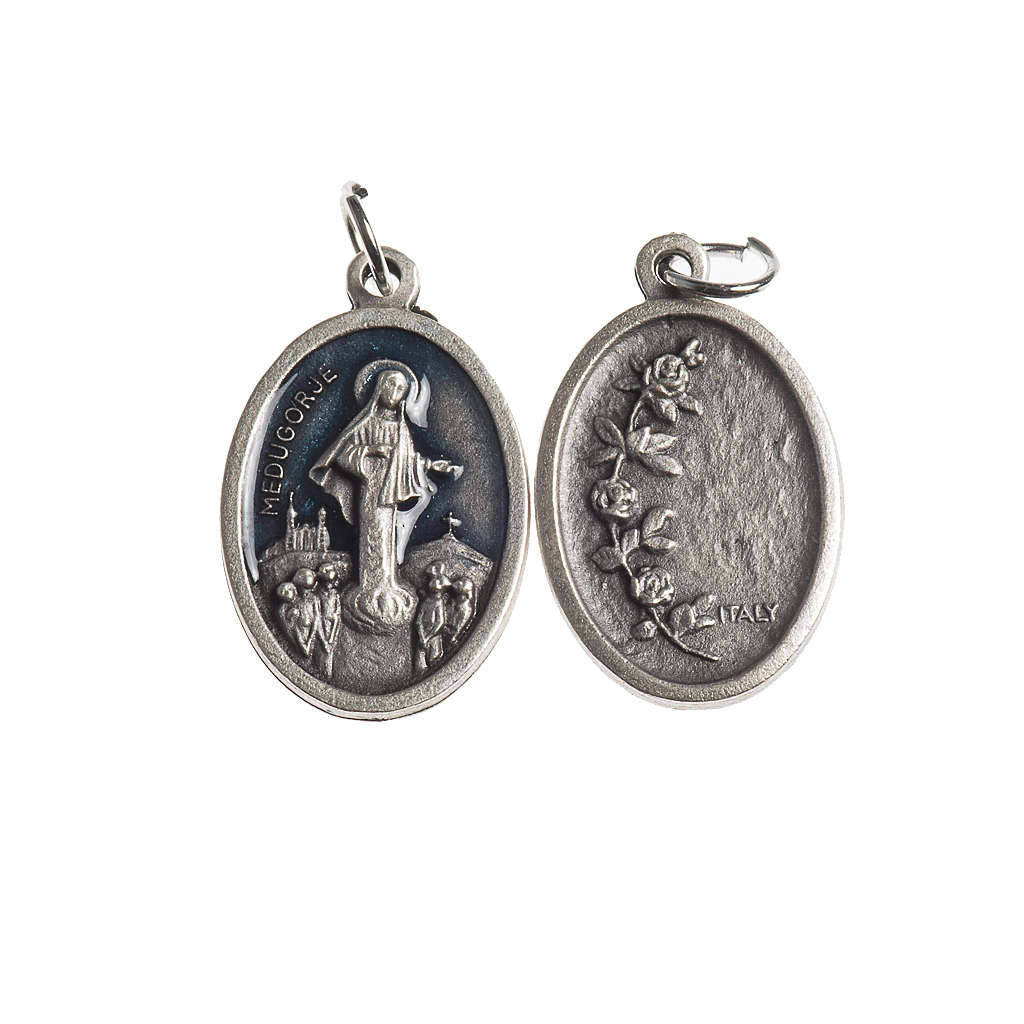 Our Lady of Medjugorje medal, oval, antique silver light blue en 4